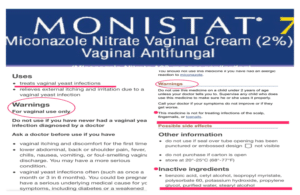Monistat 7 Warning Label